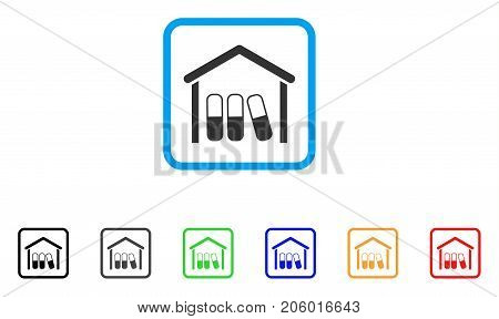 Drugs Garage icon. Flat pictogram symbol in a rounded square. Black, gray, green, blue, red, orange color additional versions of Drugs Garage vector. Designed for web and app UI.
