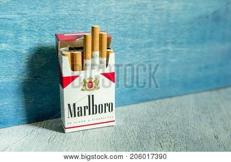 MOSCOW - MAY 21, 2017: Pack of Marlboro Cigarettes, made by Philip Morris.