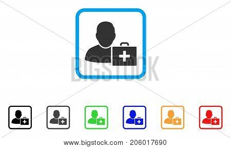 First Aid Man icon. Flat iconic symbol inside a rounded rectangular frame. Black, gray, green, blue, red, orange color additional versions of First Aid Man vector. Designed for web and application UI.