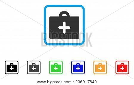First Aid icon. Flat pictogram symbol inside a rounded rectangle. Black, gray, green, blue, red, orange color versions of First Aid vector. Designed for web and application UI.