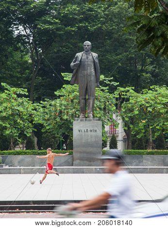 HANOI, VIETNAM - AUGUST 2017:  Lenin Statue in Hanoi, Vietnam. Vietnam is a Communist country and symbols of Communism, such as Lenin, are common.