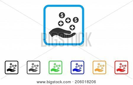 Hand Offer Medical Service icon. Flat iconic symbol inside a rounded squared frame. Black, gray, green, blue, red, orange color additional versions of Hand Offer Medical Service vector.