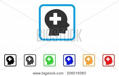 Head Medicine icon. Flat pictogram symbol in a rounded rectangular frame. Black, gray, green, blue, red, orange color additional versions of Head Medicine vector. Designed for web and app UI.