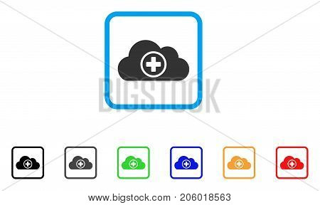 Health Care Cloud icon. Flat iconic symbol in a rounded square. Black, gray, green, blue, red, orange color versions of Health Care Cloud vector. Designed for web and software user interface.