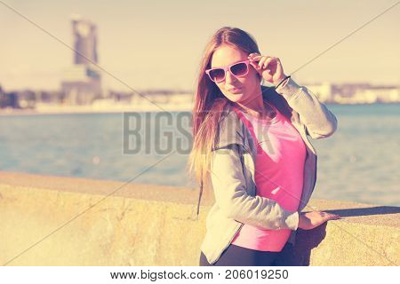 Woman Resting Relaxing After Doing Sports Outdoors