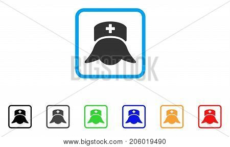 Hospital Nurse Head icon. Flat pictogram symbol inside a rounded rectangular frame. Black, gray, green, blue, red, orange color additional versions of Hospital Nurse Head vector.