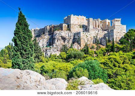 Athens Greece - Night view of Acropolis ancient citadel of Greek Civilization.