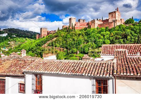 Granada Spain. Famous Alhambra Nasrid Emirate fortress of Alcazaba Andalusia province.