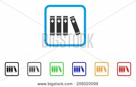 Medical Books icon. Flat pictogram symbol inside a rounded frame. Black, gray, green, blue, red, orange color variants of Medical Books vector. Designed for web and software interfaces.