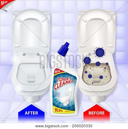 Toilet cleaner ads, top view of toilet, effect of cleaner before and after, 3d vector illustration EPS 10