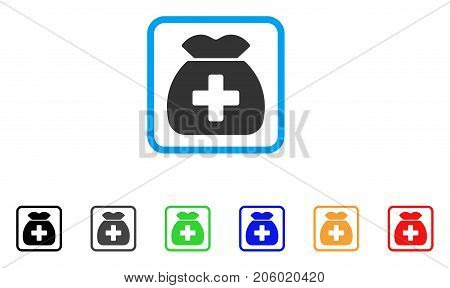 Medical Capital Fund icon. Flat pictogram symbol inside a rounded squared frame. Black, gray, green, blue, red, orange color additional versions of Medical Capital Fund vector.