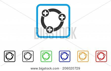 Medical Collaboration icon. Flat pictogram symbol in a rounded rectangle. Black, gray, green, blue, red, orange color additional versions of Medical Collaboration vector. Designed for web and app UI.