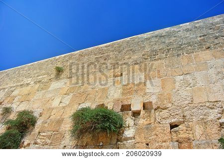 Wall of Tears. View of the Temple of the Western Wall of Jerusalem. Center for Spiritual Culture of Peace