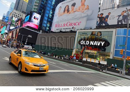 New York City, Usa, September 13, 2017 : Traffic In Times Square. Times Square Is A Major Commercial