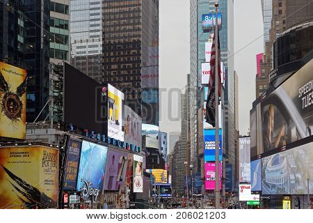 New York City, Usa, September 14, 2017 : Broadway And Times Square. Times Square Is A Major Commerci