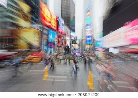 New York City, Usa, September 14, 2017 : Blurry View Of Times Square. Times Square Is A Major Commer