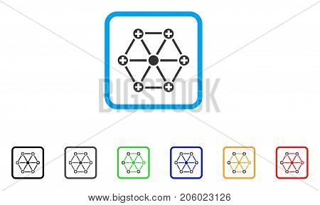 Medical Network icon. Flat iconic symbol in a rounded squared frame. Black, gray, green, blue, red, orange color additional versions of Medical Network vector.