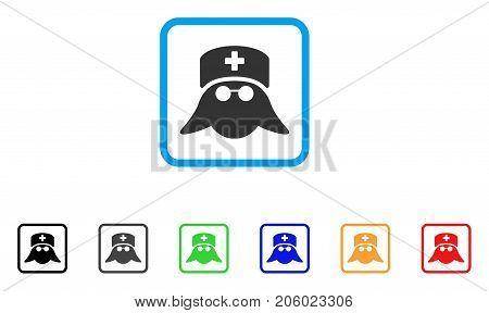 Medical Nurse Head icon. Flat pictogram symbol inside a rounded rectangular frame. Black, gray, green, blue, red, orange color variants of Medical Nurse Head vector.