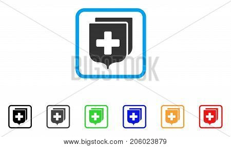 Medical Shields icon. Flat pictogram symbol inside a rounded rectangle. Black, gray, green, blue, red, orange color additional versions of Medical Shields vector.