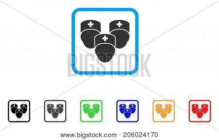 Medical Staff icon. Flat pictogram symbol in a rounded rectangular frame. Black, gray, green, blue, red, orange color additional versions of Medical Staff vector.