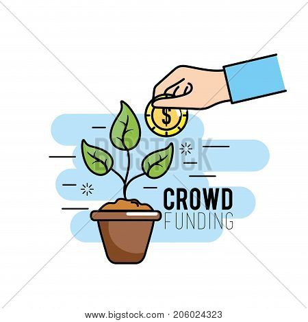 crowdfunding project support business service vector illustration