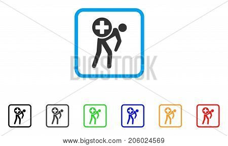 Medication Courier icon. Flat pictogram symbol inside a rounded square. Black, gray, green, blue, red, orange color variants of Medication Courier vector. Designed for web and app user interface.