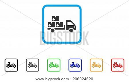 Medication Delivery icon. Flat pictogram symbol in a rounded frame. Black, gray, green, blue, red, orange color additional versions of Medication Delivery vector.