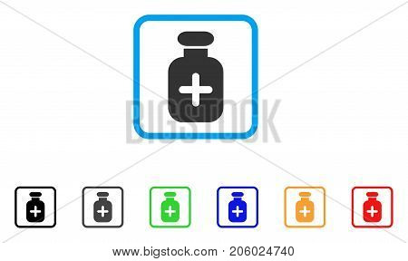 Medication Vial icon. Flat iconic symbol in a rounded rectangle. Black, gray, green, blue, red, orange color variants of Medication Vial vector. Designed for web and software user interface.