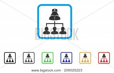 Nurse Patients Connections icon. Flat pictogram symbol in a rounded square. Black, gray, green, blue, red, orange color variants of Nurse Patients Connections vector.