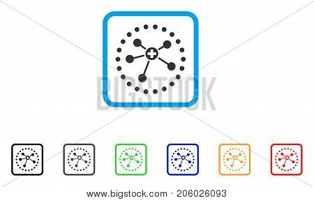 Rounded Medical Connections icon. Flat pictogram symbol in a rounded rectangle. Black, gray, green, blue, red, orange color versions of Rounded Medical Connections vector.