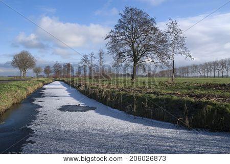 Frozen ditch near Wijngaarden in the Dutch region Alblasserwaard