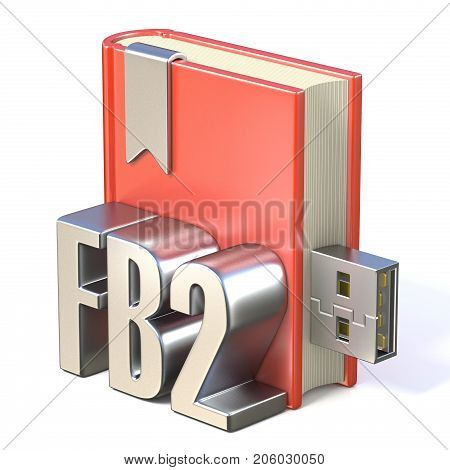 Ebook Icon Metal Fb2 Red Book Usb 3D