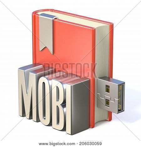 Ebook Icon Metal Mobi Red Book Usb 3D
