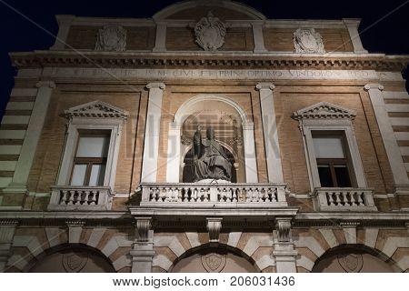 Cesena (Emilia Romagna Italy): facade of historic palace at evening