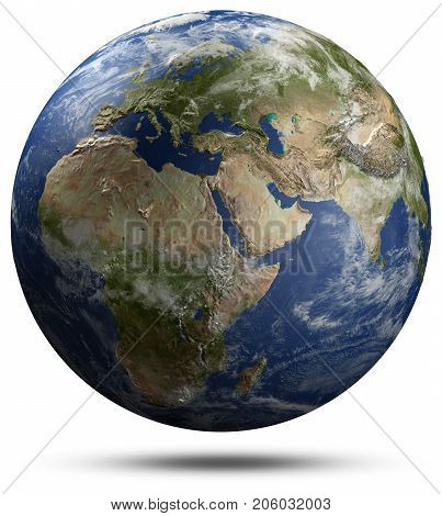 Earth globe - Africa, Europe and Asia. Elements of this image furnished by NASA 3d rendering
