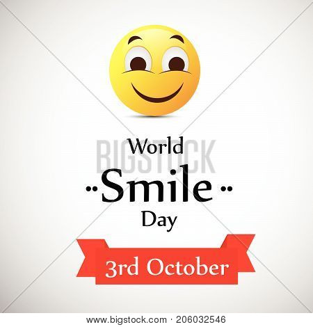 illustration of smiling face with World Smile Day 3rd October on the occasion of World Smile Day