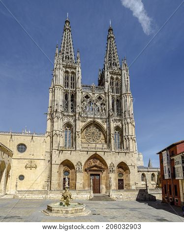 Front portal of the cathedral in Burgos Spain which is under protection of UNESCO