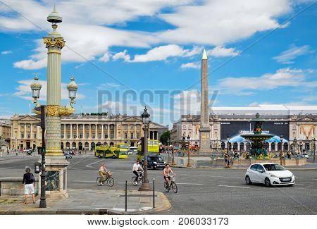 PARIS,FRANCE - JULY 29,2017 : Place de la Concorde in central Paris on a summer day