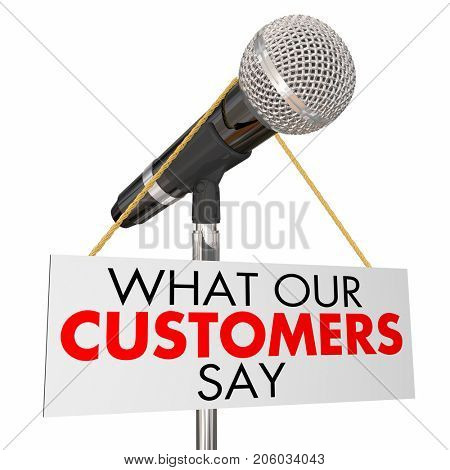 What Our Customers Say Microphone Testimonials 3d Illustration