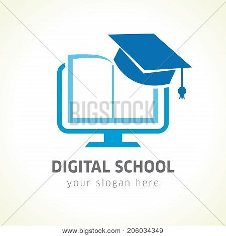 Digital school book online education logo. Digital school book online education logo. Digital open book with pages in monitor emblem and graduation hat. E-book or e-reader soft icon. On-line education blue vector sign