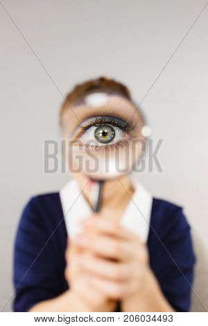 Funny Woman Office Working Secretary With Magnifier