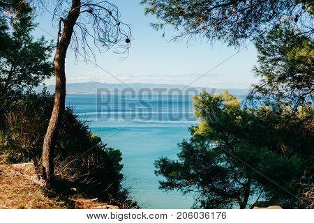 Summer sea coast morning landscape, Kassandra peninsula, Halkidiki, Greece