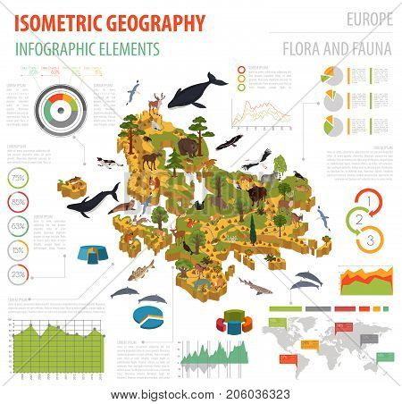 Flat 3D Isometric Africa Flora And Fauna Map Constructor Elements. Animals, Birds And Sea Life Isola
