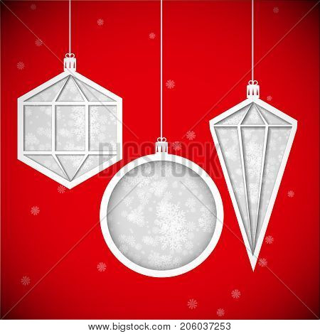 Abstract Vector illustration. Christmas decorations (cut paper).