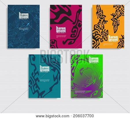 Minimal covers design. Patterns of the cover with an ethnic pattern.