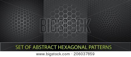 Set Of Abstract Hexagonal Patterns. Futuristic Abstract Background With Grey Hexagons