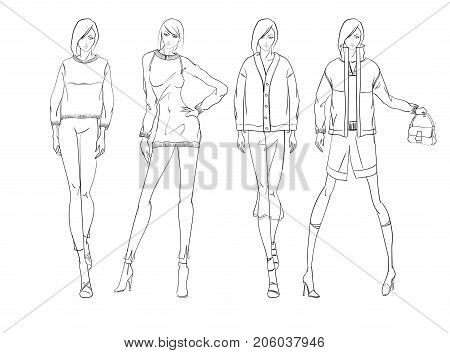 Sketch. Fashion Girls On A White Background.