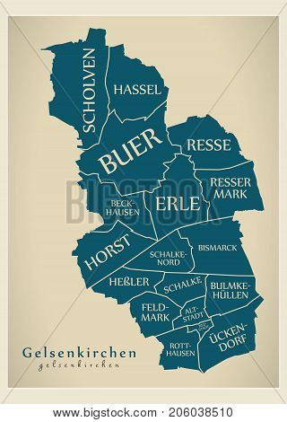 Modern City Map - Gelsenkirchen City Of Germany With Boroughs And Titles De