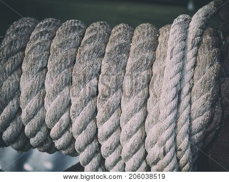 Close-up of old rope.Used for background image Or design work.
