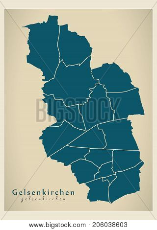 Modern City Map - Gelsenkirchen City Of Germany With Boroughs De